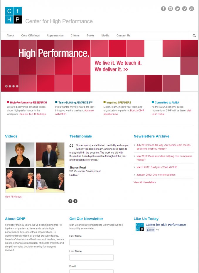 Center for High Performance Homepage