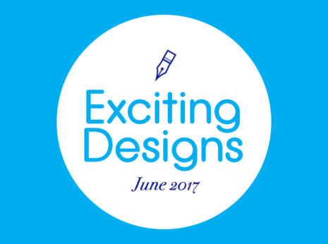 a white circle that says Exciting Designs: June 2017 overlaid on a blue background