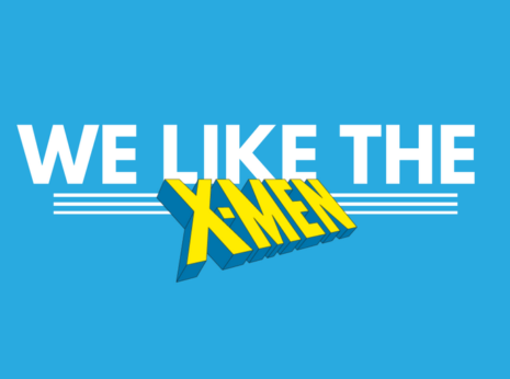"the text ""We like the"" and then the X-Men logo, the two separated by three thin white lines"