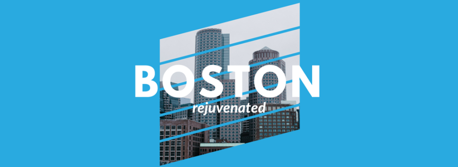 image of the boston insignia over a blue-colorized image of boston cityscape