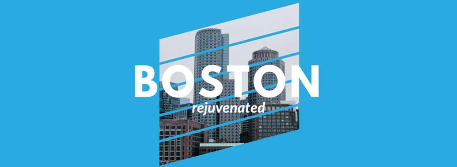 image of the boston insignia over a blue-colorized image of boston cityscape