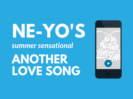 image of title text on a blue background and beside it a phone showing the album art for Another Love Song