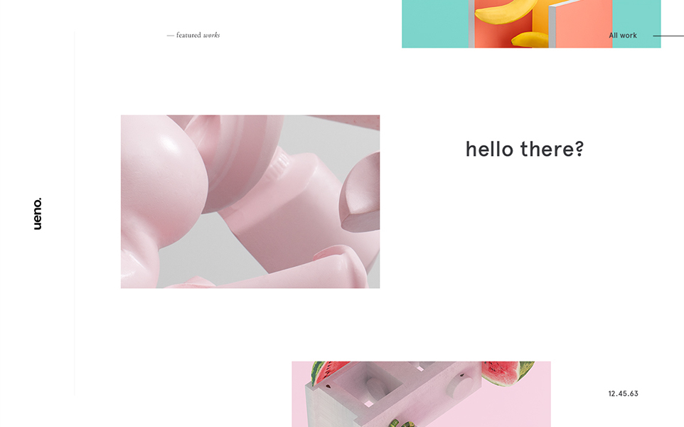 shown is the ueno website design. there are a few images of 3d renders and minimal text, all on a white background.