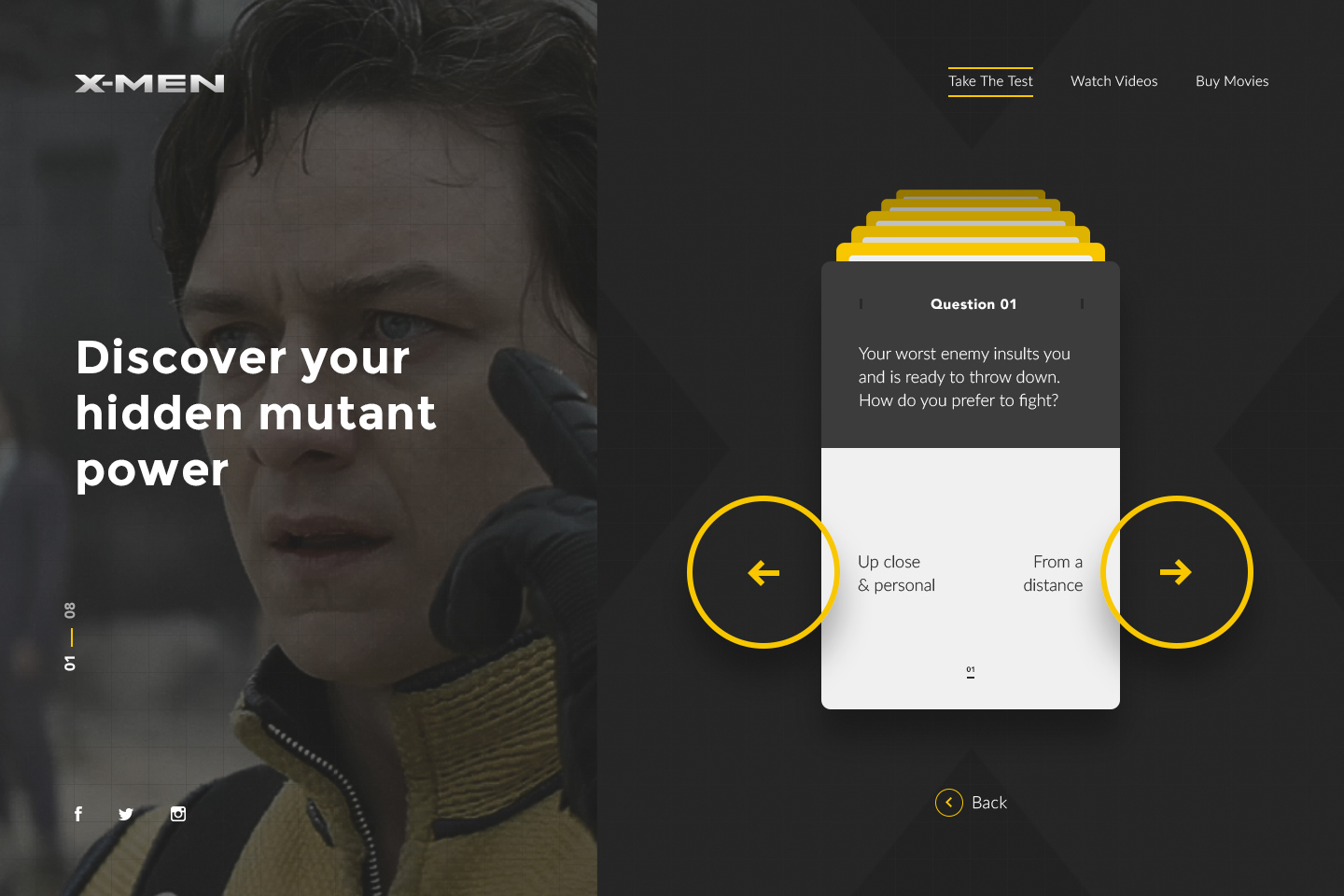 "image of a split site: on the left is charles xavier and ""Discover Your Mutant Power"" ontop of his image, and onthe right is a deck of yellow, grey, and white-colored cards asking quiz questions"