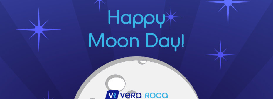 "image of a dark purple-blue background with sparkles/stars and a graphic of the moon made into a semicircle. above it is the text ""happy moon day!"" and overlaid on it is the vera roca logo and motto."