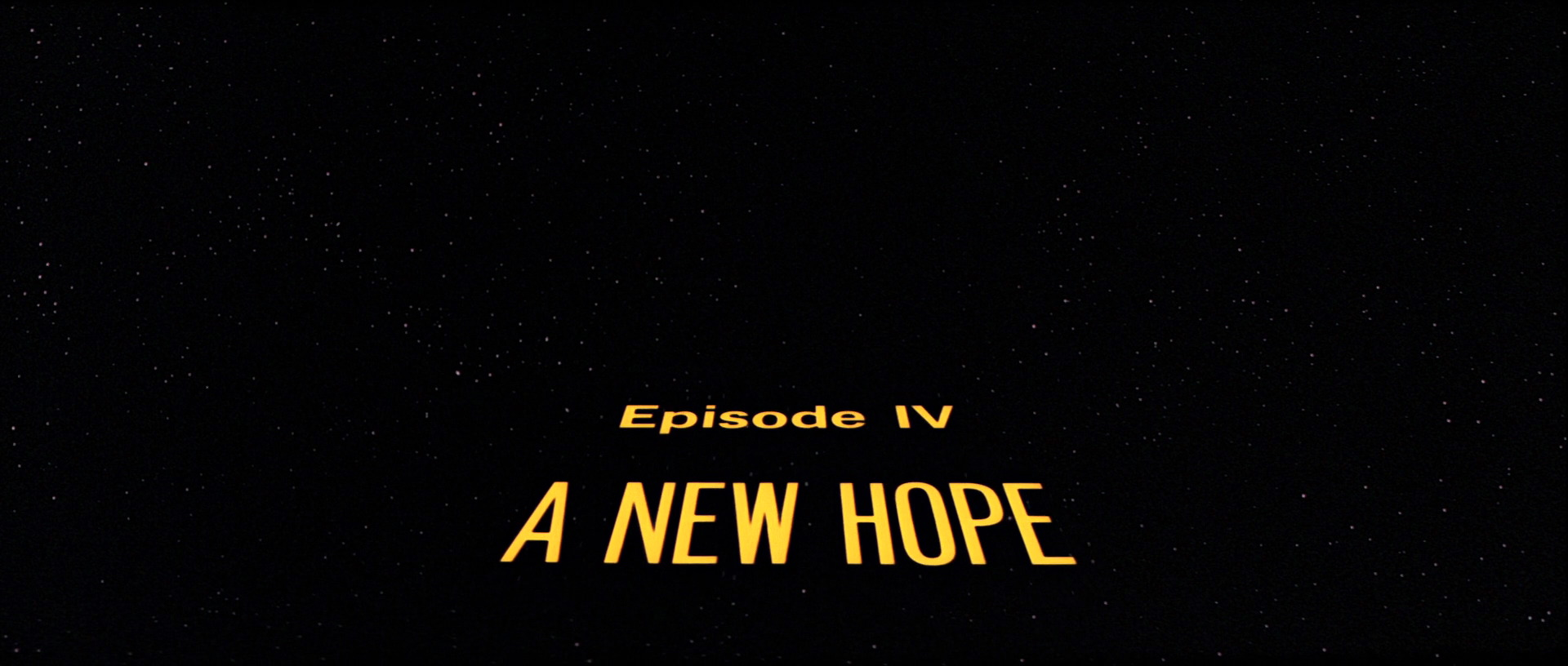 screencap of title screen of star wars episode iv: a new hope