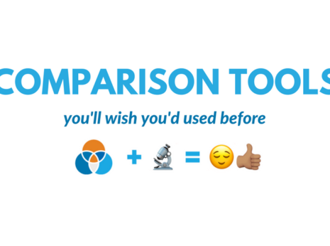 """blue text on white background that says """"comparison tools"""" subtitle """"you"""