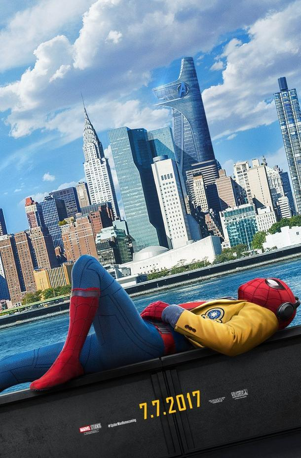 poster of the new york skyline, water, and then spider-man lounging on his back in full spider-suit and his school uniform on top
