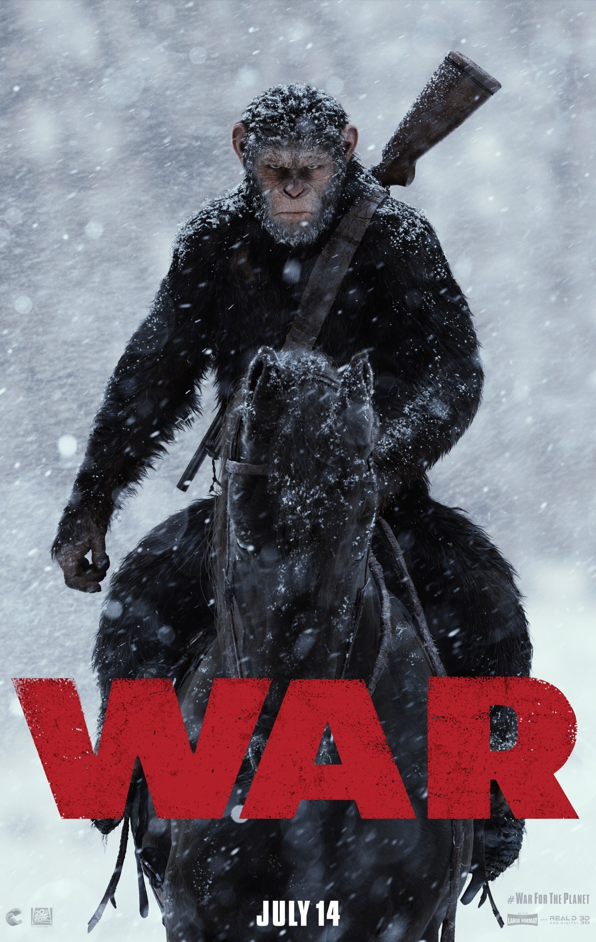 "a poster of an ape on horseback with a rifle slung over its shoulder staring menacingly out, with snow falling. over the bottom of the image is the text ""war"" is bright red bold font"
